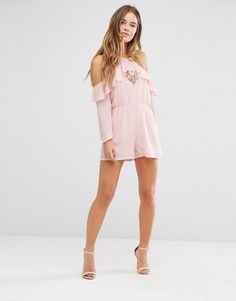 Shop Boohoo Petite Cold Shoulder Ruffle Romper at ASOS. Cute Fashion, Diy Fashion, Fashion Online, Fashion Looks, Fashion Outfits, Womens Fashion, Cute Dresses, Summer Dresses, Casual Outfits