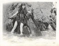 "Vintage Snapshot ""Mermaid Dreams"" Outlandish Mermaid Costume Worn By Smiling Woman Black & White Found Photo Vernacular Photography"