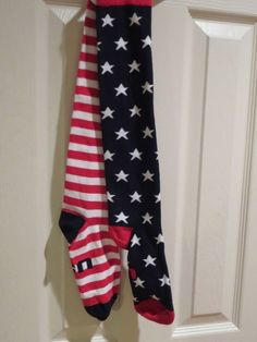 MY FAVORITE EVER...American Flag Knee High Socks USA Red White Navy Patriotic Mismatched Kneehighs  #Casual Made in USA! Best quality I've seen.