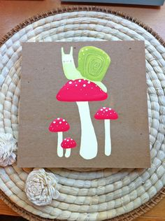 snail and mushrooms nursery decor. 8x8 wood board mounted art print for kids, children, or baby. $30.00, via Etsy.