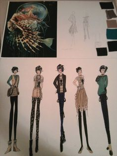 Inspirational pic, color palette, and drawings of the garments