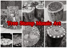 Tree stumps can be decorated with broken tiles, dishes and other things to make quite art of it. Those stumps can be used as chairs, stools, tables or well just as art. Here are few creative tree stumps  mosaic.