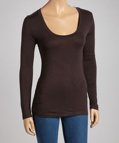 Look what I found on #zulily! Dark Brown Scoop Neck Tee by Zenana #zulilyfinds