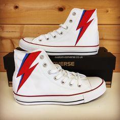 Aladdin Sane Lightning Bolt Converse #customconverse #converse #davidbowie #bowie #aladdinsane #chucks #allstars #kicks