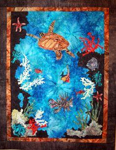 Contemporary Art Quilt Turtle Ocean Art Handmade by CynthiaMinoli, $295.00