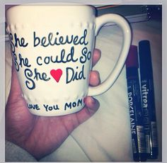 """Diy mug I made my mom for Christmas last year. Bought a simple white mug from TJ Maxx ($1.99) and bought the markers at Dick Blick (approx. $5.00) """"Pebeo Vitrea Paint Markers"""". The paint becomes permanent after baking in the oven so it allows the mug to be dishwasher/microwave safe. Used these markers for other projects that turned out to be super cute, super inexpensive, and super unique with an added personal touch."""