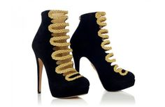 black bridal booties with gold laces