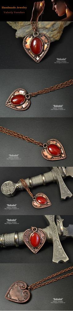 Pendant made of copper plate and wire.