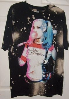 Ladies White Harley Quinn Puddin T-Shirt Womans Evil Villain Halloween Top