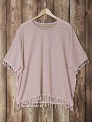 Stylish Batwing Sleeve Pure Color Fringed Women's Blouse