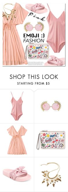 """Pink"" by fshionme ❤ liked on Polyvore featuring Anya Hindmarch, Puma and monochromepink"