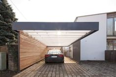 Decorating Modern Carport: modern garage & shed by architect Armin Hägele Carport Garage, Pergola Carport, Garage House, House Front, Car Garage, Garage Kits, Iron Pergola, Small Garage, Wooden Pergola