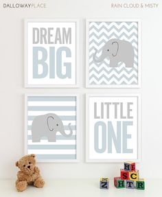 Baby Boy Nursery Art Chevron Elephant Nursery Decor by DallowayPlaceKids