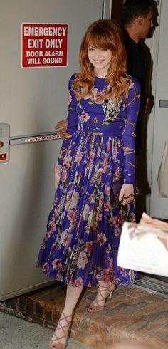 Emma stone wearing a floral Dolce & Gabanna dress