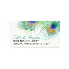Watercolor Peacock Feather Address Label