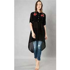 Asymmetric splendid kurti cum top with beautiful embroidered flower motif . Stylish Dresses For Girls, Stylish Dress Designs, Designs For Dresses, Casual Dresses, Simple Kurti Designs, Kurta Designs Women, Blouse Designs, Dress Indian Style, Indian Fashion Dresses