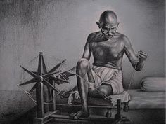 Portrait of mahatma Gandhi - Sketching by Omprakash Khirodkar in charcoal drawings at touchtalent Charcoal Sketch, Charcoal Art, Charcoal Drawings, Charcoal Portraits, Mahatma Gandhi Photos, Gandhi Quotes, Oil Painting On Paper, Painting Canvas, Freedom Fighters Of India