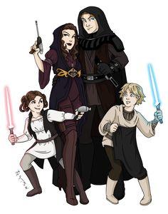 Skywalker Family Redesign by ~msciuto on deviantART (Why does Leia have a red lightsaber? Star Wars Fan Art, Star Wars Clone Wars, Star Trek, Anakin Vader, Anakin And Padme, Anakin Skywalker, Darth Vader, Saga, Star Wars Zeichnungen