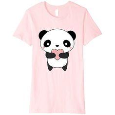 Cute Kawaii Panda T-Shirt (£12) ❤ liked on Polyvore featuring tops, t-shirts, panda bear t shirt, panda t shirt, panda top, pink tee and pink top