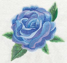 Blue Rose Bloom in Watercolor. Machine Embroidery Designs at Embroidery Library! -
