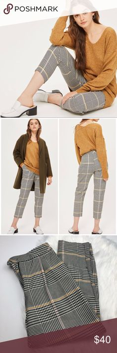 Topshop Bright Check Plaid Peg Trousers So cute and perfectly on trend! Great for winter. Size 6 US. Subtle pink and yellow plaid houndstooth. Excellent pre owned condition! No trades!! Topshop Pants Trousers