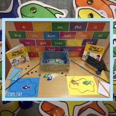 Fishing for phonics. Laminated fish so I can change the sound as and when. Letter Sound Activities, Vowel Activities, Classroom Activities, Jolly Phonics, Phase 5 Phonics, Phonics Rhymes, Lighthouse Keepers Lunch, Phonics Display, Early Years Classroom