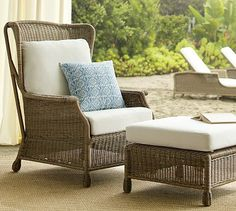 Saybrook All-Weather Wicker Wingback Armchair #potterybarn.  Furniture options