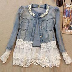 jaqueta jeans feminina pérolas importada - frete grátis