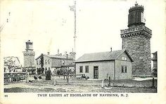 Navesink New Jersey 1908 Twin Lighthouses at Navesink Antique Vintage Postcard