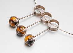 Elis Kauppi for Kupittaan Kulta, Vintage Kinetic Silver Pendant with Tiger's Eye. #Finland