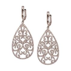JJ Caprices - Zircon and Sterling Silver Filigree Earrings by LK Designs