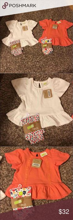Girl's Outfits-Adorable 6-12 Month! Brand new, super cute outfits!! Comes with two pair of leggings, and two shirts! Shirts & Tops Tees - Short Sleeve
