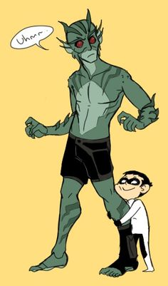 I don't know how you guys draw La'gann all the time, animating him must be hell. Lagoon Boy and Damian Wayne (c) DC Comics