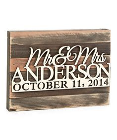 'Mr & Mrs' Names & Date Rustic Wood Personalized Wall Sign