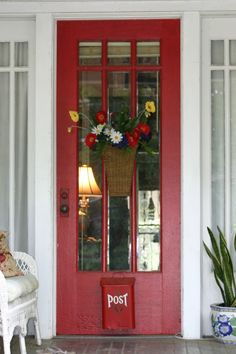 "Love this red door too.  Apparently, red doors, in the American tradition, mean ""welcome"" to a weary traveler."
