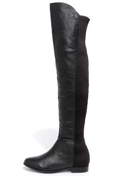 Chinese Laundry Riley Black Nappa Leather Over the Knee Boots at Lulus.com!