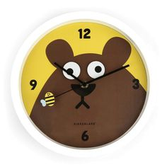 Ruchomy zegar ścienny do pokoju dziecięcego. Niedźwiadek wodzi wzrokiem za poruszającą się pszczółką. #zegar #clock