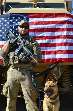 MWD and Hero with American Flag. God bless them both and bring them back home safely