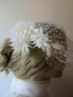 Wedding Veil Bridal Birdcage Veils Ivory Natural by gebridal, $60.00