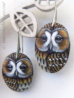 Pair of Tawny Owl Earrings Hand Painted Jewels | Etsy Painted Gourds, Hand Painted Rocks, Polymer Clay Owl, Tawny Owl, Owl Rocks, Owl Earrings, Rock And Pebbles, Stone Painting, Painting On Wood