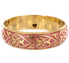 Pink Ribbons & Hearts Brass Bracelet at The Breast Cancer Site