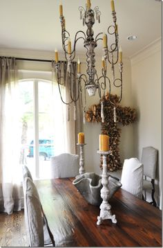 My Sweet Savannah: ~diy coffee filter cross~ Chandelier Lamp, Chandeliers, Lamps, Beautiful Dining Rooms, Green Kitchen, Chair Fabric, Wall Art Quotes, Sweet Home, Crosses