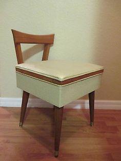 vanity chair with storage. Danish Modern SEWING STOOL Storage wood vinyl mid century vanity chair vtg  60s vintage Mid Century CHAIR Vanity Stool Bench