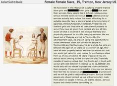 """Want to buy a slave? They are going today for $9500 in New Jersey Here is the written text from the advertisement offering young Asian women for sale in New Jersey. At what point will """"We The People…"""" say enough is enough?  ———–     We have been in this lifestyle of supplying properly trained slave girls and [….]Asian girls to [….]that seek their services.Many people find it difficult coming across serious minded slaves on various [….]websites and o ..  #humantrafficking #giv.."""