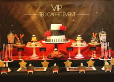 My lovely client approached me and requested a dessert table for her VIP - Red Carpet Event Birthday Party. She had previously organ. 60th Birthday Decorations, Casino Decorations, 60th Birthday Party, Birthday Ideas, Casino Night Party, Casino Theme Parties, Party Themes, Party Ideas, Movie Themes