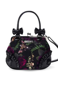 Victoria Nightlife Handbag [B] | KILLSTAR Living for the nightfall - a star studded sky and a grand ball of roses and moths; this is the Nightlife. Enchanted in the garden with the 'Victoria' Nightlife handbag. In a perfect balance of soft luxe velvet and gloss PVC; practical and secure metal clip closure, inside pocket and long adjustable [and detachable] shoulder strap - and of course - fully lined. Complete with accent bows and ruched edges.