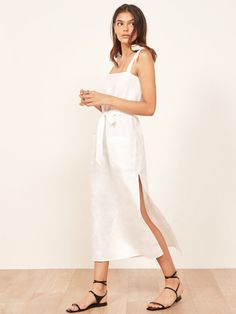 Reformation Elliot Linen Dress White XS New White Linen Dresses, Elegant Dresses, Casual Dresses, White Dress, Summer Dresses, Summer Maxi, Boho Dress, Lace Dress, White Outfits
