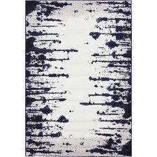 Wrought Studio Sidney Hand Tufted Ivory/Navy Blue Area Rug Rug Size: Rectangle x Benjamin Moore, Navy Blue Area Rug, Blue Area Rugs, Mason Jars, Ikea, Floating, Layout, Contemporary Area Rugs, Modern Rugs