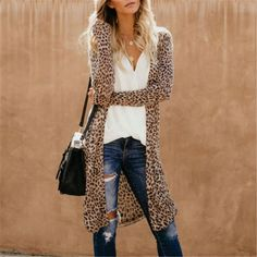 Name Sexy Cardigan Features Printed Hem Slim? Date/Vacation/Daily Life Style Casual Gender Women Product ?Note All? Duster Mantel, Moda Fashion, Womens Fashion, Leopard Print Outfits, Moda Outfits, Cooler Look, Moda Boho, Casual Outfits, Fashion Outfits