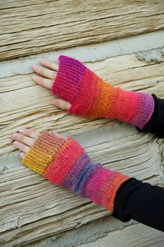Fingerless mittens in 'firework'/ wool mittens by GuineveresCloset, $27.00